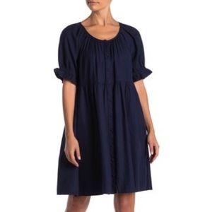 SUSINA Ruffles Sleeve Button Down Dress